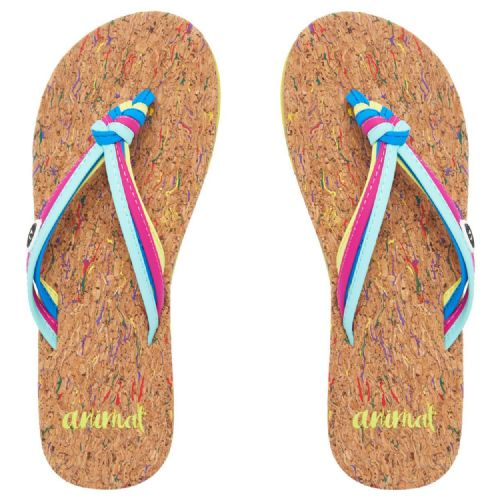 ANIMAL WOMENS FLIP FLOPS.SUMMER STRAPPY FAUX LEATHER/CORK THONGS SANDALS 8S 316